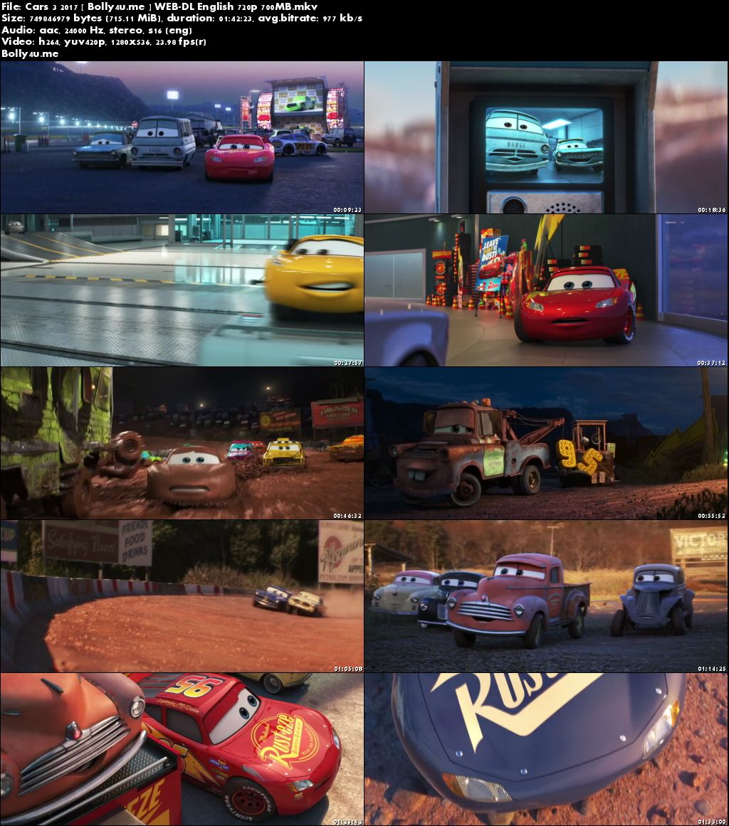 Cars 3 2017 WEB-DL 700MB Full English Movie Download 720p