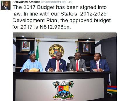 GOVERNOR AKINWUNMI AMBODE SIGNS LAGOS STATE 2017 BUDGET