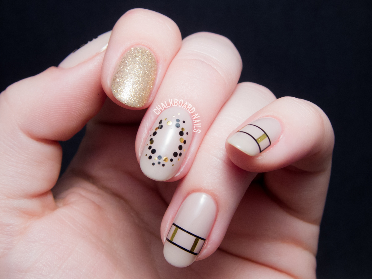 Metallic gold nail art decals via @chalkboardnails