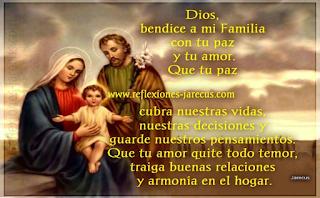 Dios, bendice a mi Familia con tu paz y tu amor.  Que tu paz cubra nuestras vidas, nuestras decisiones y guarde nuestros pensamientos.  Que tu amor quite todo temor, traiga buenas relaciones y armonía en el hogar.