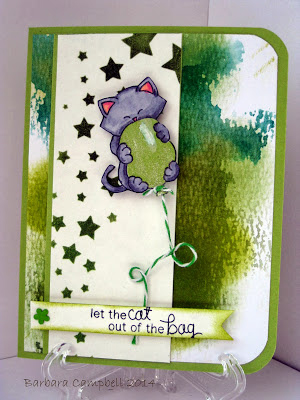 Kitty and Balloon Green card by Barbara  for Newton's Nook Designs inky Paws Challenge