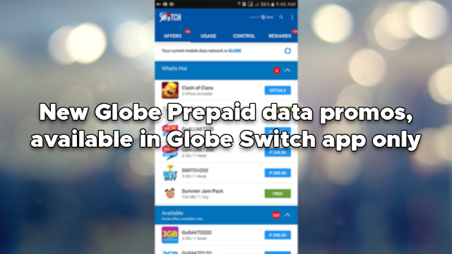 New Globe Prepaid data promos, available in Globe Switch app