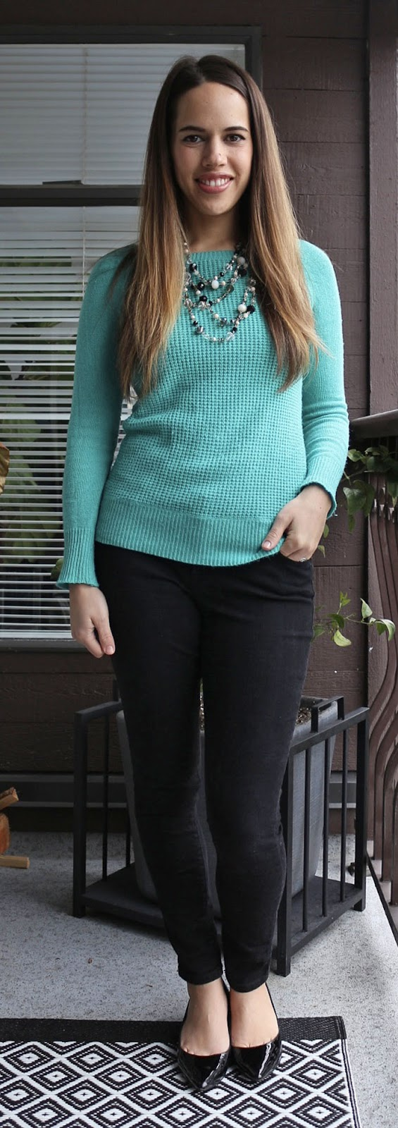 Jules in Flats - J.Crew Sweater, Old Navy Pixie Pants, Aldo Deloris shoes