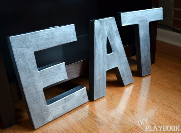 From a distance, these letters look just like the zinc Anthropologie ones - only MUCH cheaper!