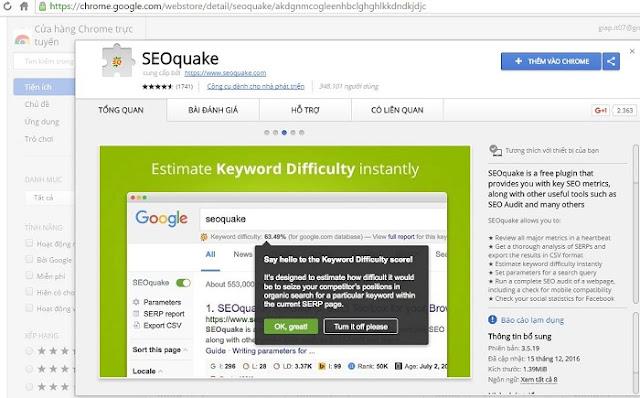 Cách cài đặt Seoquake cho Google Chrome