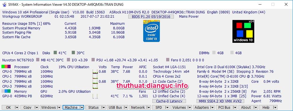 System Information viewer portable 4.50 – Kiểm tra đầy đủ thông tin máy tính
