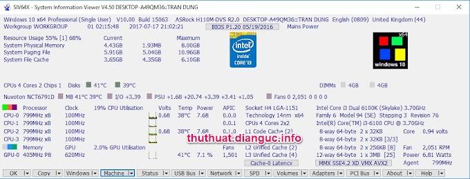 System Information viewer portable 4.50 - Kiểm tra đầy đủ thông tin máy tính