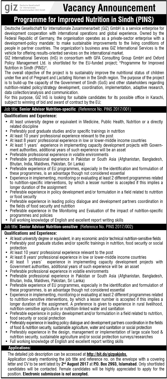 Senior Advisers Jobs In Islamabad  July 2017.