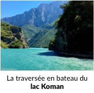 Traversée en bateau du lac Koman au nord de l'Albanie