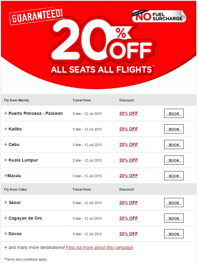 Air Asia Airlines: Guaranteed 20% Off All Seats For You!