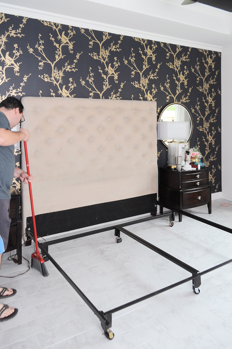 Master bedroom with black and gold Tempaper