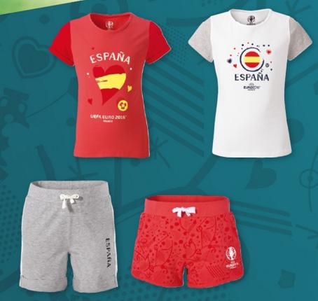 camisetas y short para chicas aficionadas fútbol España Euro