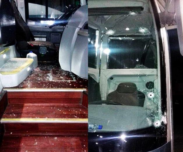 Balean autobús durante enfrentamientos en Tamaulipas y chofer conduce hasta Nuevo León