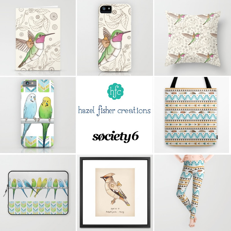Society6 products Budgies, Southwest Feathers and Arrows, Steampunk Clockwork birds designs by hazelfishercreations