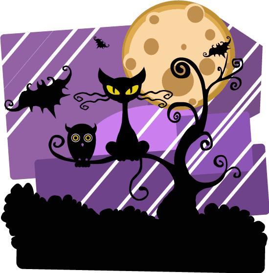 Noche de Halloween con gato ciniestro y lechuza