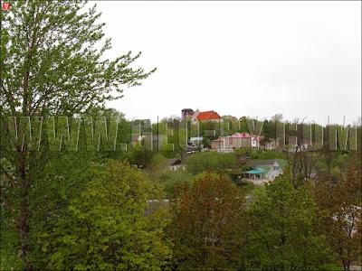 Новогрудок. Вид с холма Миндовга. Виден замок и фарный костел