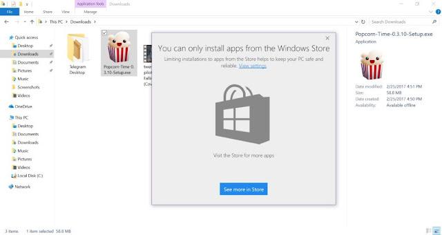 Windows 10 bloqueio de instalação de Apps