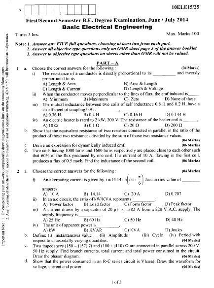 Basic Electrical Engineering VTU B E June July 2014 Question