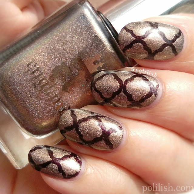 Quatrefoil nail art featuring A-England 'Virgin Queen' and 'Incense Burner'