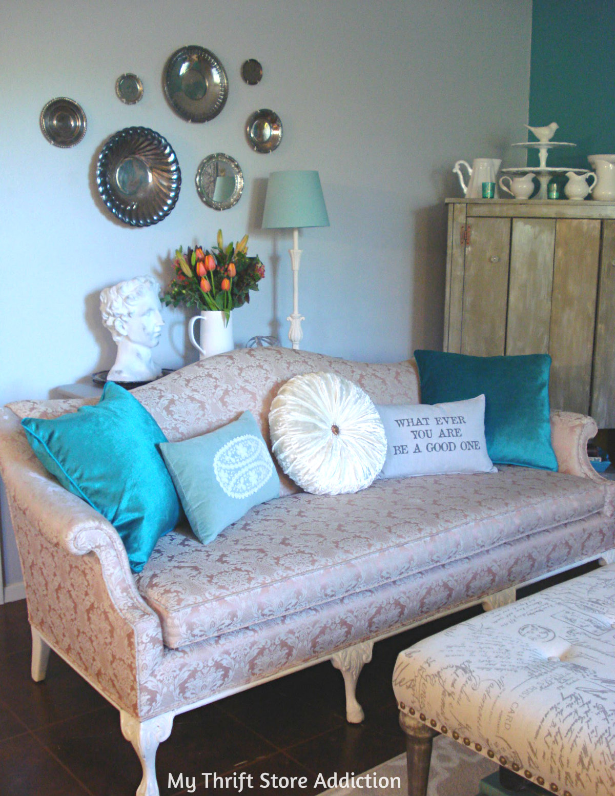 vintage blush-colored sofa