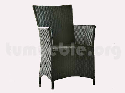 sillón comedor hecho en aluminio y rattan sintético 6066