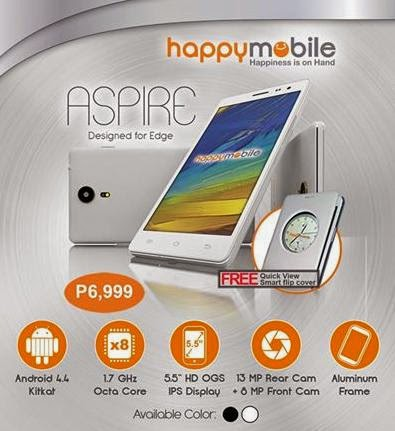 Happy Mobile Aspire Announced, 5.5-inch Octa Core with 2GB RAM for Php6,999