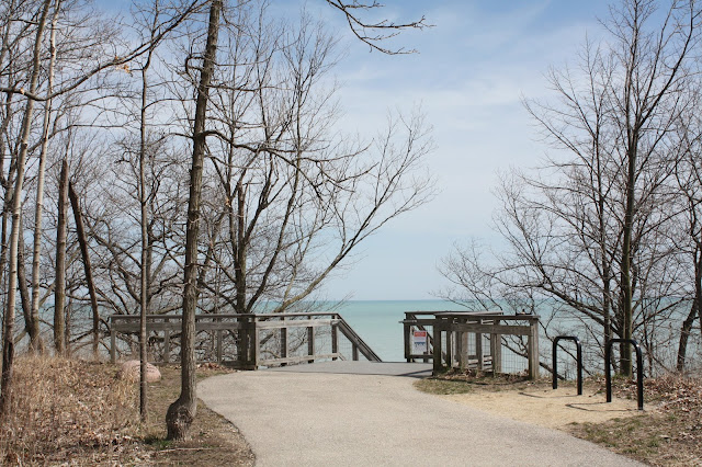 Stairs leading to the Openlands Trail along a segment of Lake Michigan