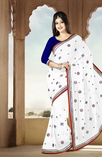 Beautiful Mirror Work #White Fax Georgette #Saree For #Navratri
