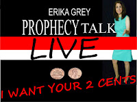 a photo of Erika Grey standing against the worlds, Erika Grey Prophecy Talk Live-I want your two cents