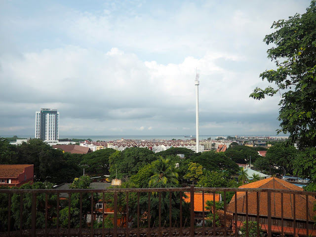 View of Taming Sari Tower from St Paul's Church hilltop in Melaka, Malaysia