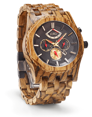 Jord Wooden Watch - Zebra wood and Obsidian