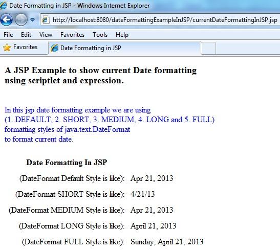 Date format example in jsp (java.text.DateFormat)   SITENOL