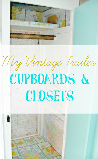 Cupboards and closets in a vintage trailer
