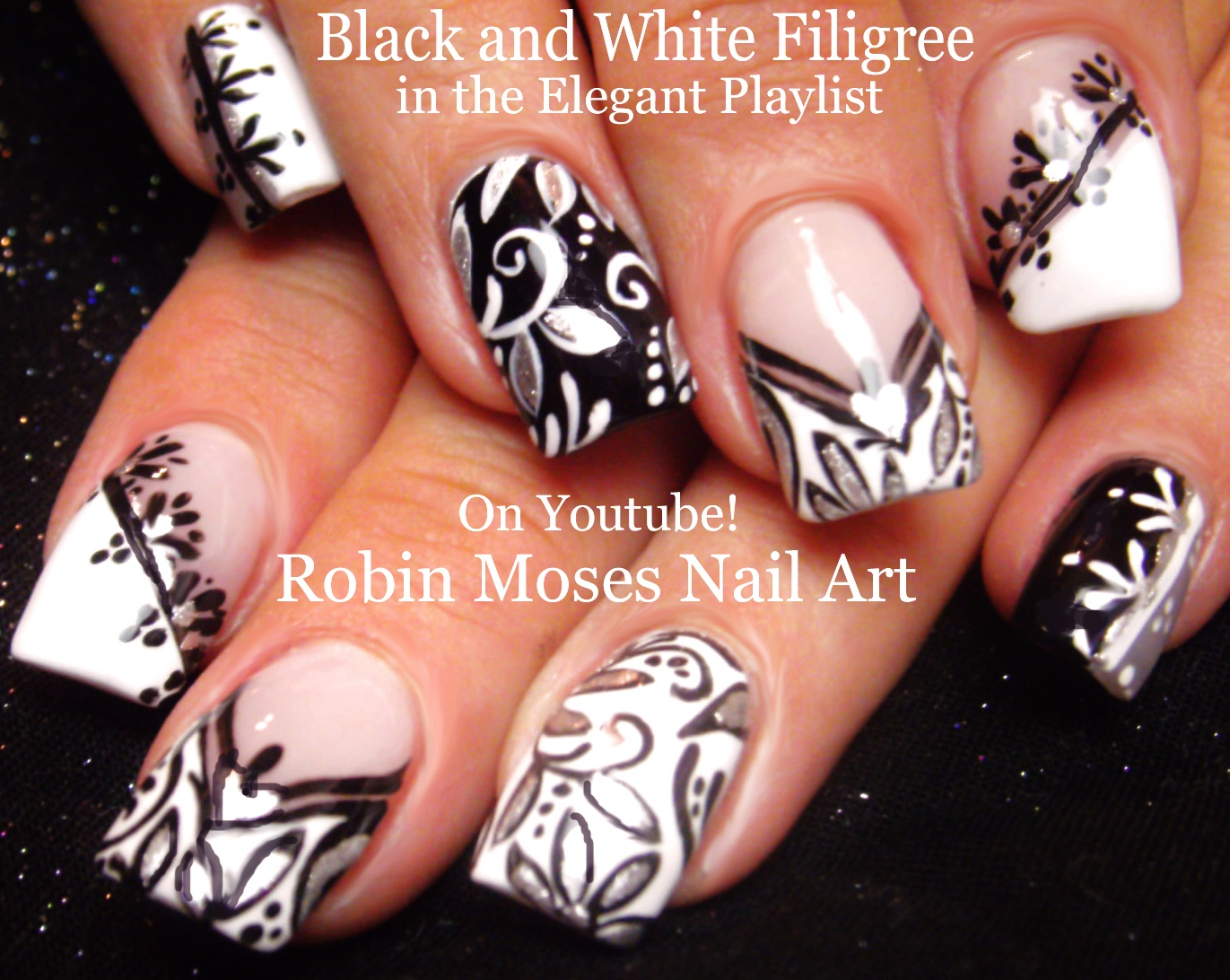 Nail Art By Robin Moses Black And White Nail Art Design Tutorials