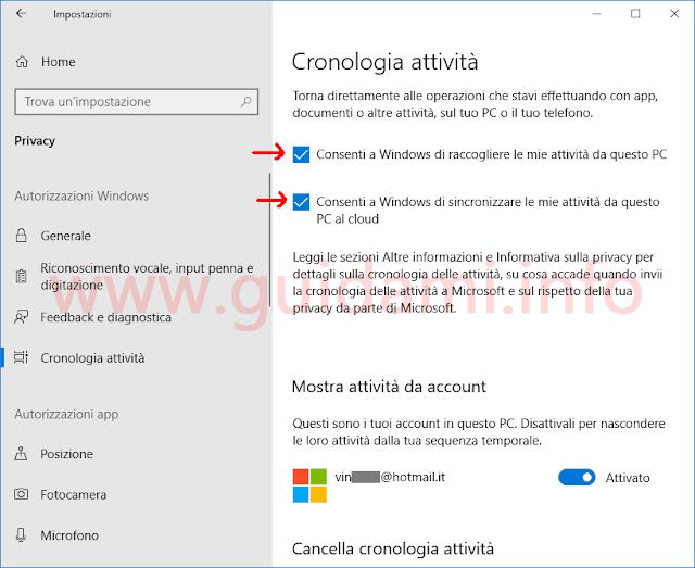 Windows 10 schermata Impostazioni Cronologia attività per attivare Timeline