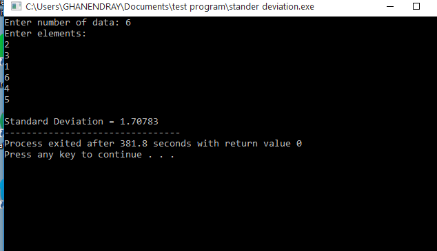C++ Program to Calculate Standard Deviation Using Function