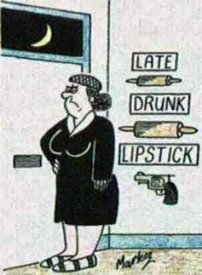 Was Ehefrauen machen wenn Mann beim lügen erwischt wird - Comic Ehefrau an Tür