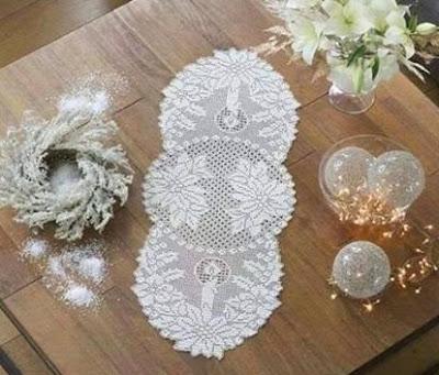 Toalhinha de Crochê Para Decoração de Natal Com Gráfico