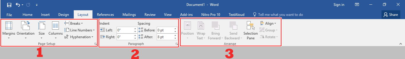 Menu bar Layout Microsoft Word 2016