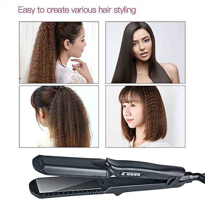 Wave 4in1 Titanium Hair Straightener Flat Iron Crimper Curler With Interchangeable Plates