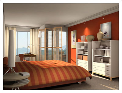 الاورانج بديكورات modern-orange-bedroo