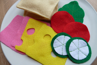 Play food sandwich made of felt