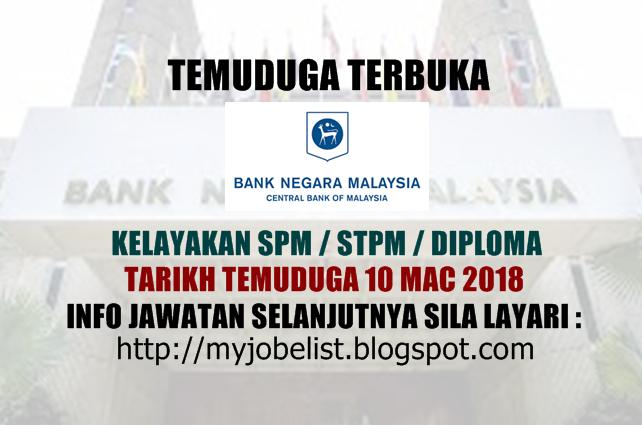 Temuduga Terbuka di Bank Negara Malaysia Pada 10 Mac 2018