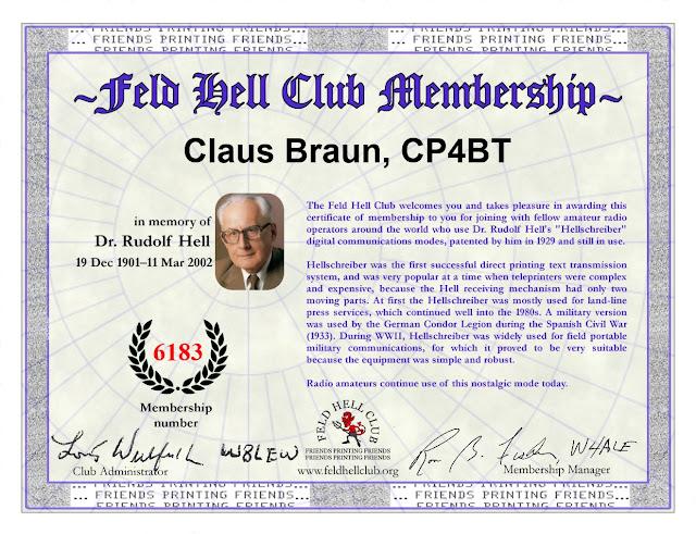 Ich bin seit Kurzem Mitglied im Feld Hell Club. Würde mich sehr über Kontakte in dieser Betriebsart freuen. y 73 es 55 Claus CP4BT