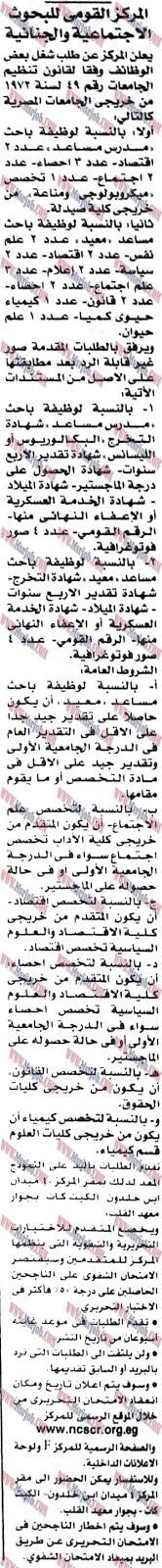 وظائف المركز القومى للبحوث الاجتماعية والجنائية للمؤهلات العليا والتقديم حتى 15 / 12 / 2016