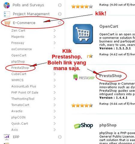 5 Langkah Mudah Install Prestashop - Klik E-commerce lalu klik PrestaShop