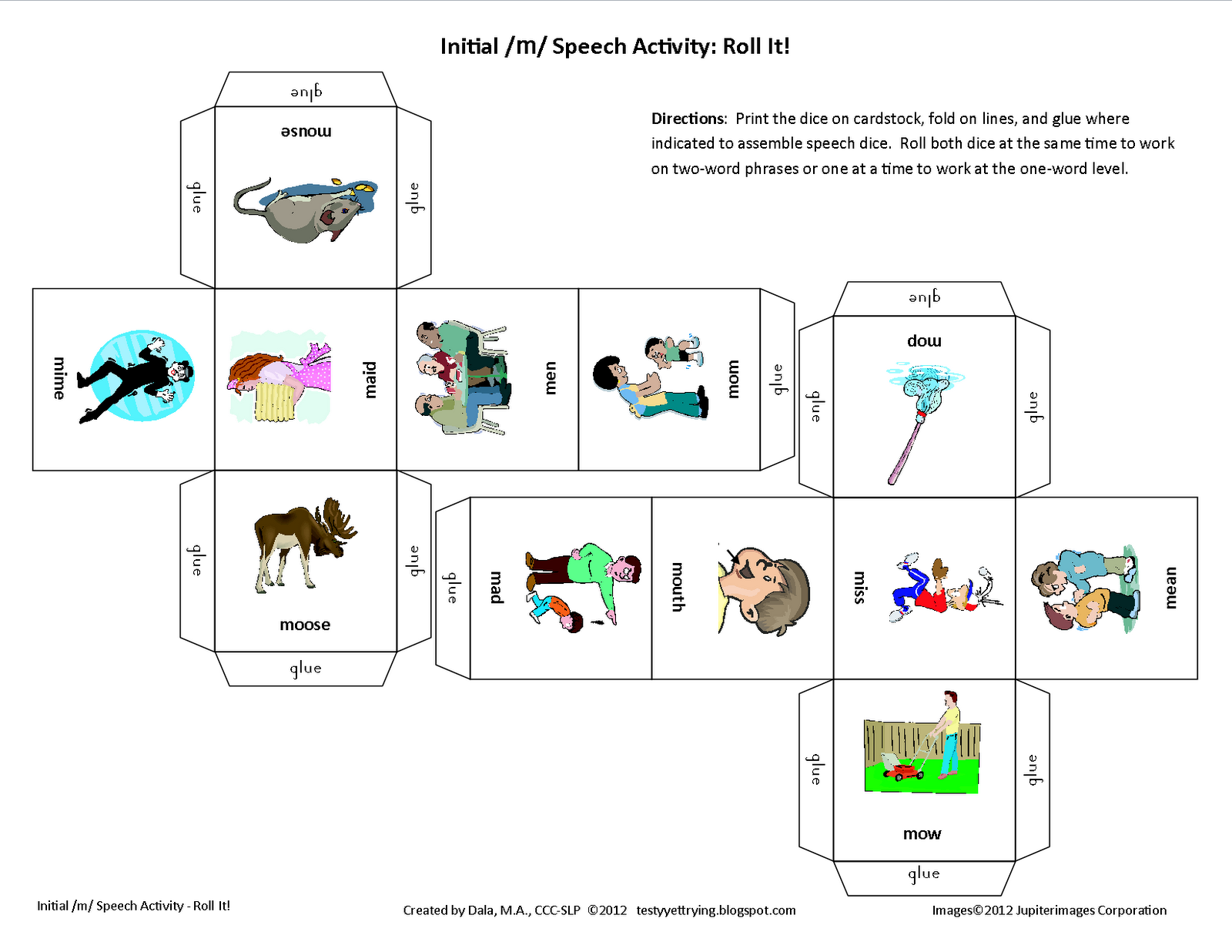 Testy Yet Trying Roll It Printable Initial M Speech