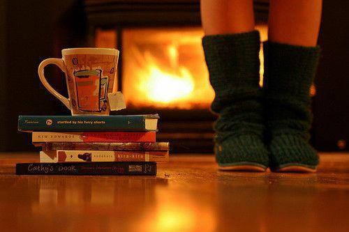 kitap, şömine, kış
