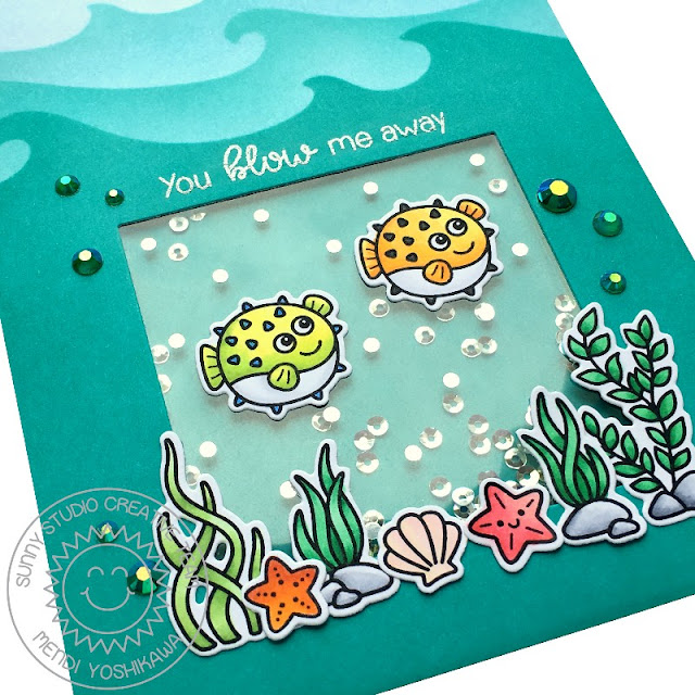 """Sunny Studio Stamps: Best Fishes """"You Blow Me Away"""" Blowfish handmade shaker card"""
