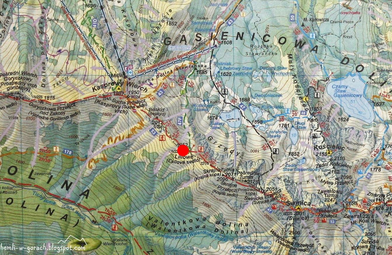 Liliowe na mapie